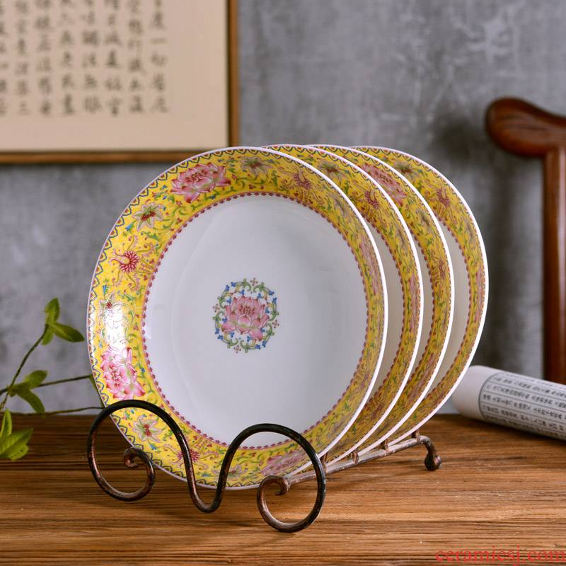 8 inches deep ipads porcelain dish dish jingdezhen Chinese style household ipads porcelain dish of rice soup plate antique tableware into lotus