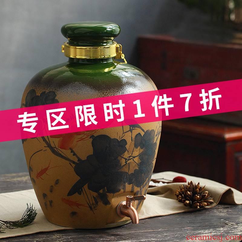 Jingdezhen ceramic jar it 10 jins 50 leading seal altar wine barrel bottle pot of household of the ancients