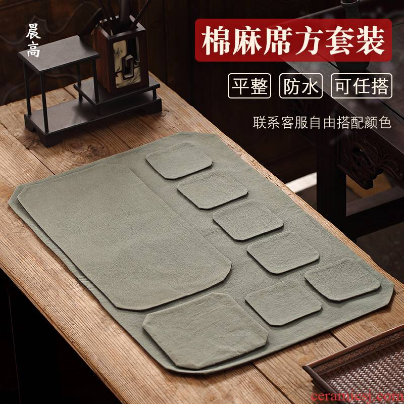Morning high Chinese zen cup mat cotton and linen tea table as pad dry tea mat of a complete set of suit the teapot