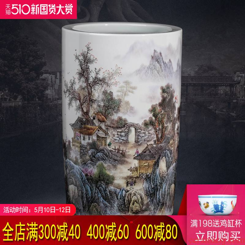 Jingdezhen ceramics painting and calligraphy tube calligraphy and painting scroll cylinder receive study of the sitting room decorate a large vase landing place
