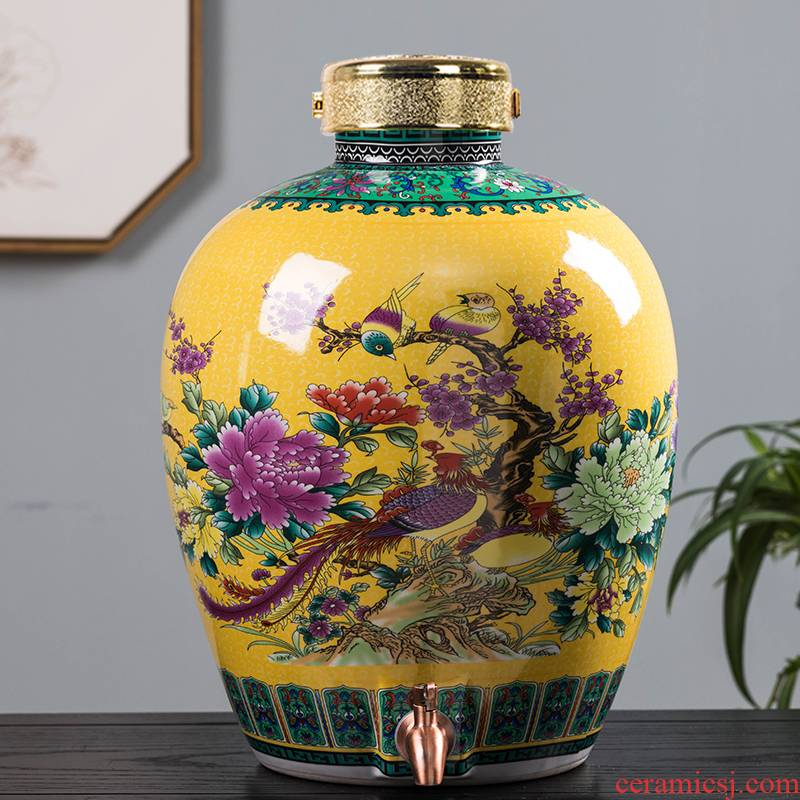 Household adornment archaize ceramic seal wine jar it 30 jin liquor 10 jins 20 jins with copper tap mercifully wine