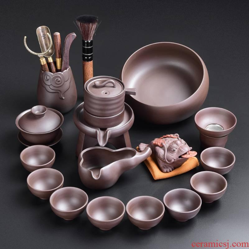 Tao blessing ancient violet arenaceous stone mill automatic tea set suit creative household violet arenaceous lazy tea kettle