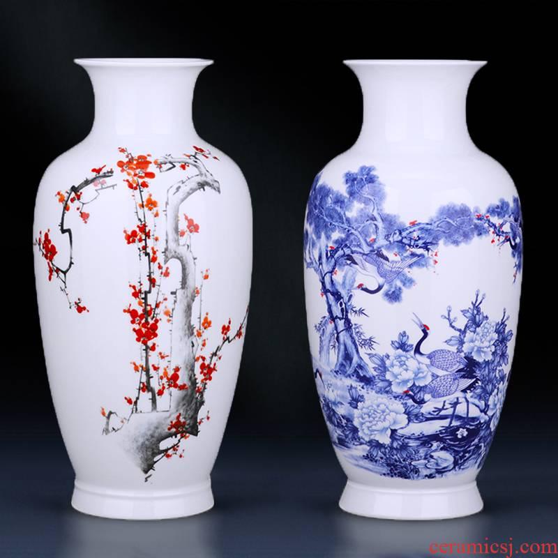 Jingdezhen ceramics vase large landing name plum flower arrangement sitting room TV ark adornment of Chinese style household furnishing articles