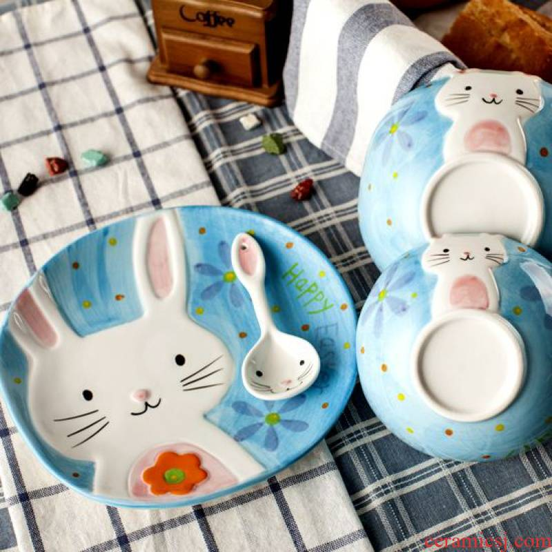 Jingdezhen creative cartoon hand - made rice dessert bowl of Japanese rabbits ceramic dishes cutlery set