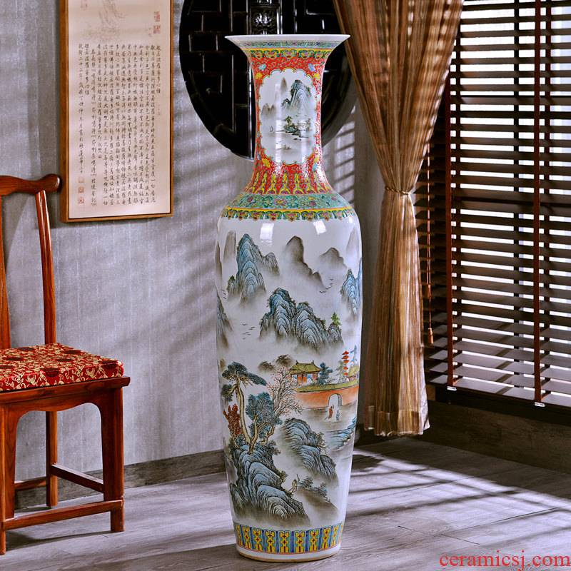 Jingdezhen hand - made archaize pastel of large vase study of new Chinese style sitting room adornment hotel office furnishing articles