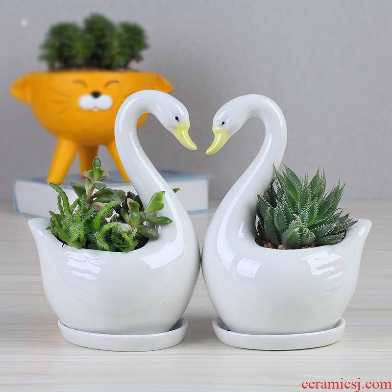 Contracted the Nordic style, small and pure and fresh green plant white ceramic flower pot tray was creative move indoor fleshy flower pot