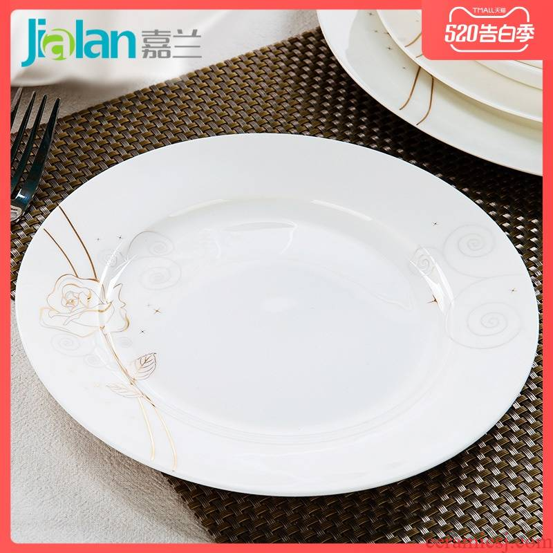 Garland 8 inch Chinese platter flat ipads porcelain dish plate western food steak plate of tangshan ceramic creative household utensils