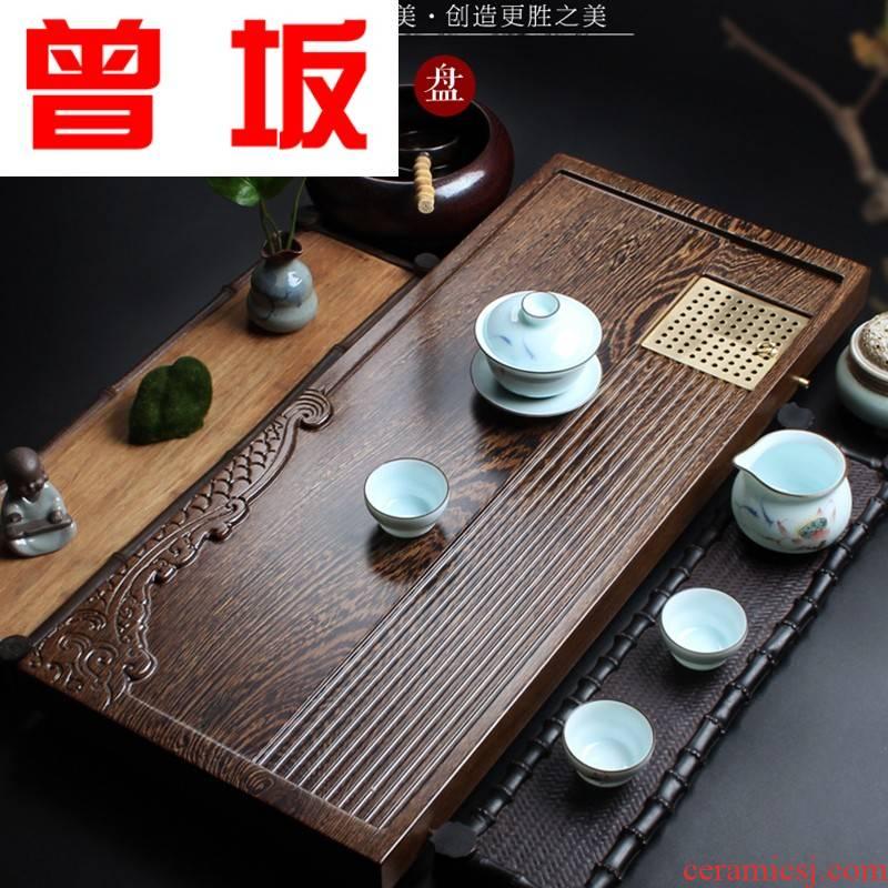 Once sitting sandal wood tea tray trumpet wenge wood tea tray was kung fu tea set travel set tea saucer wooden tea sea