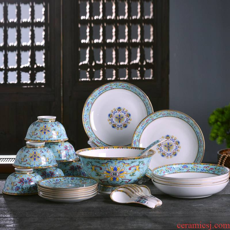 Jingdezhen up phnom penh enameled bowl which suits for Chinese style household ipads porcelain tableware rice bowl of the big rainbow such use deep food dish
