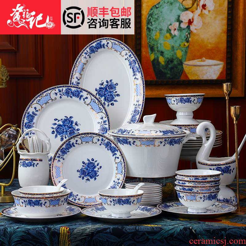 Ceramic bowl chopsticks combination of blue and white porcelain tableware portfolio ipads Chinese style restoring ancient ways dishes suit creative household bowls plates