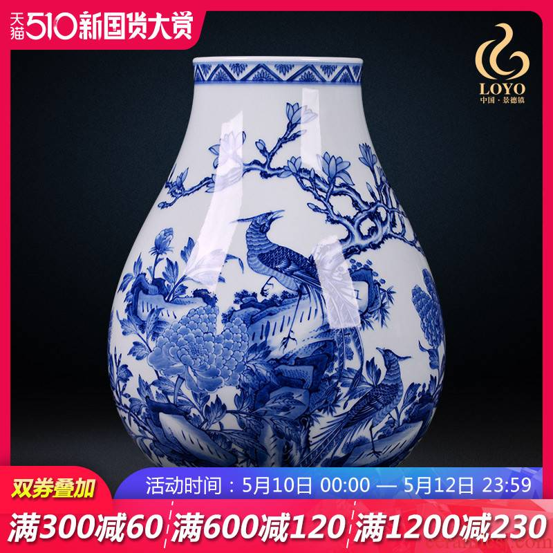 Jingdezhen blue and white vase famous hand - made ceramic archaize sitting room porch office decoration of Chinese style household furnishing articles
