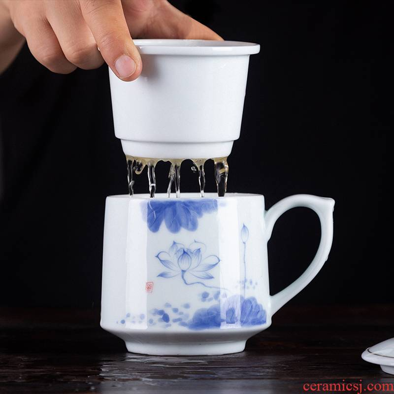 Blower, jingdezhen ceramic tea cups separation office tea home large hand - made cup with cover the meeting
