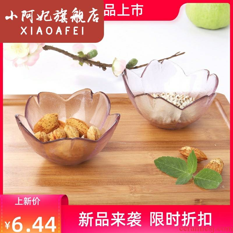 Japanese cherry blossom put dip small bowl glass bowl home plate vinegar sauce dish fruit bowl express it in transparent creative dishes
