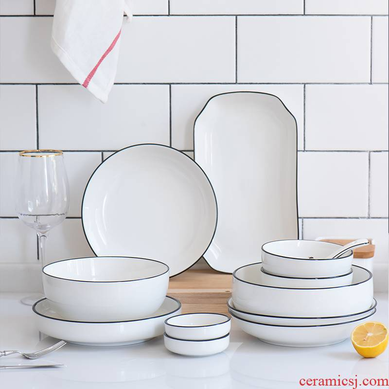 European creative black ceramic tableware 0 steak dinner plate the dishes the household bowl dish soup bowl