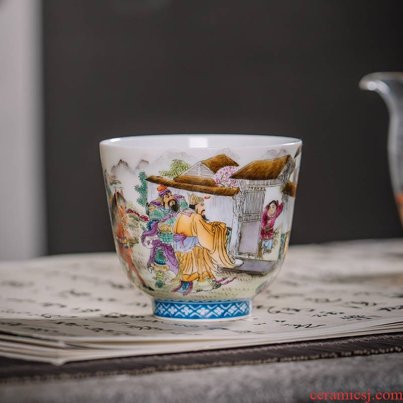 The Owl up jingdezhen tea archaize ceramic powder enamel hand - made allusion character masters cup tea cups sample tea cup