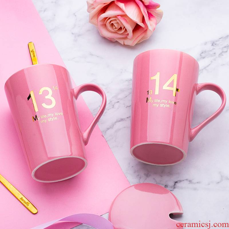 Men and women lovers with water glass ceramic keller with cover milk coffee cup household teaspoons of creative move trend