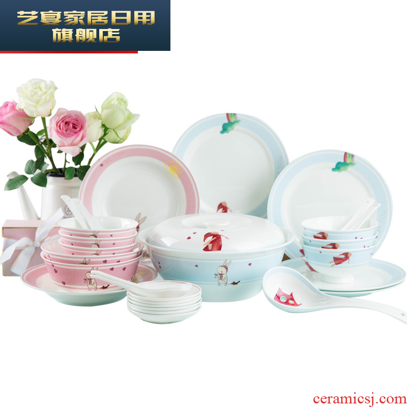 Dishes suit household sweet Dishes Chinese creative jingdezhen ceramic tableware, 4/6 people eating Korean dish bowl