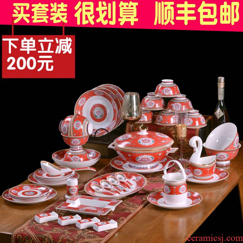 Jingdezhen ceramics bowl plates spoon tableware ceramic antique bowl of red of Chinese style household send gift set tableware