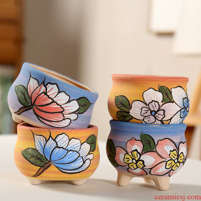 End of coloured drawing or pattern of hand - made delay jubilee fleshy flower pot through pockets TaoXiaoHua basin ceramic element contracted small pot