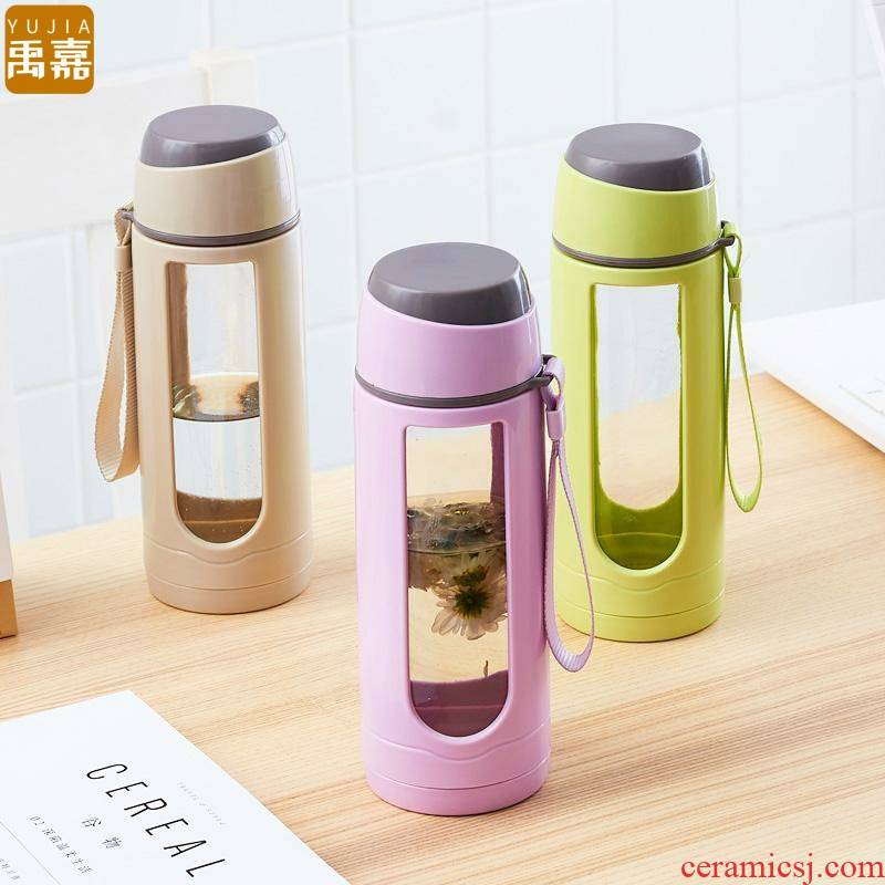 Double mercifully YuJia glass flower tea cup male and female students office plastic portable insulating glass cup hot cup
