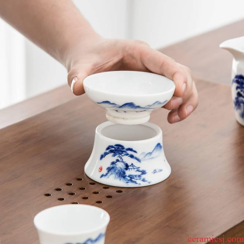 Qiu time ceramic kunfu tea filters white porcelain hand - made scenery) tea - leaf filter tea accessories
