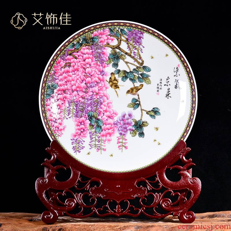 Jingdezhen ceramics powder enamel decoration plate by TV ark, plate of the sitting room porch disk handicraft furnishing articles can be customized