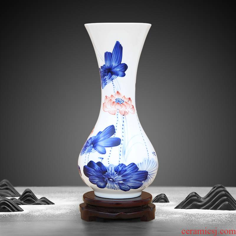 Jingdezhen ceramics hand - made bucket color blue and white porcelain vases, furnishing articles living room flower decorations arts and crafts