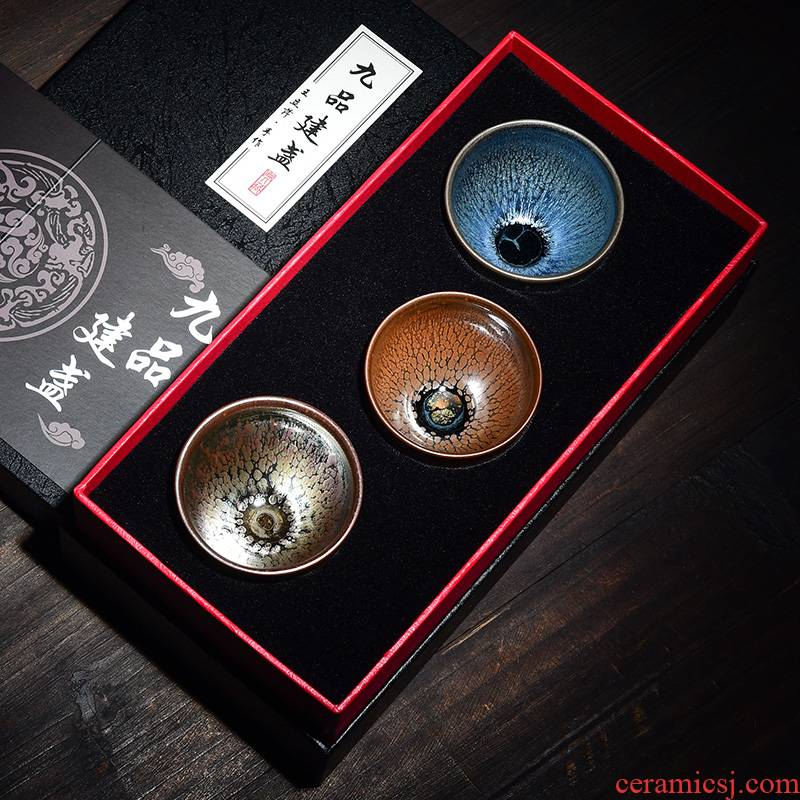 Tao blessing by manual build light three cup gift boxes of household gifts silver hao zijin partridge tea cups