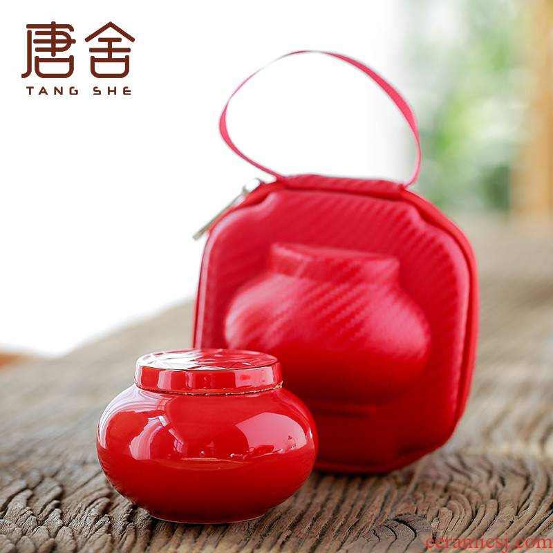Tang China red paint caddy fixings ceramic seal tank portable travel small tea POTS warehouse storage tanks