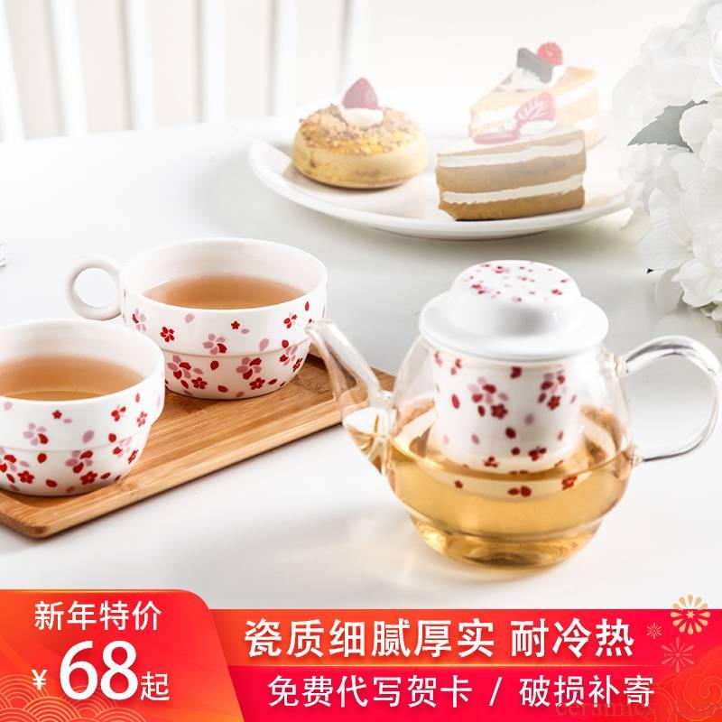 The teapot teacup tea tray afternoon tea kettle ceramic teapot set glass tea cup of tea