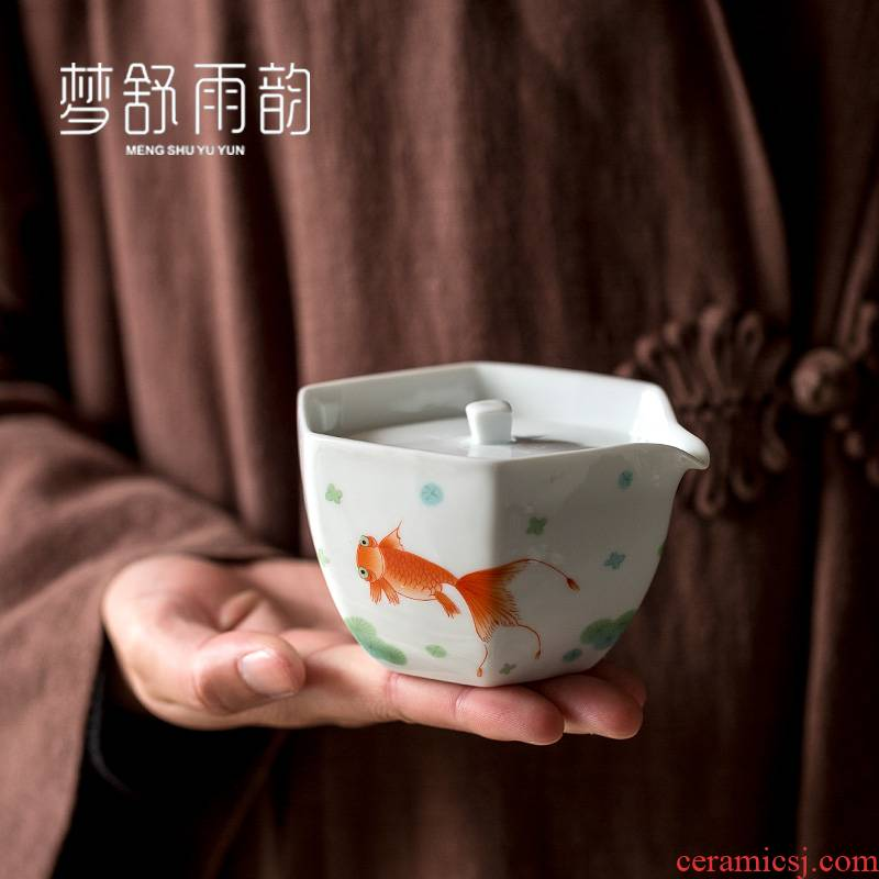 Dream ShuYu rhyme three only white porcelain tea tureen ceramic cups single kung fu tea set against the very hot household size