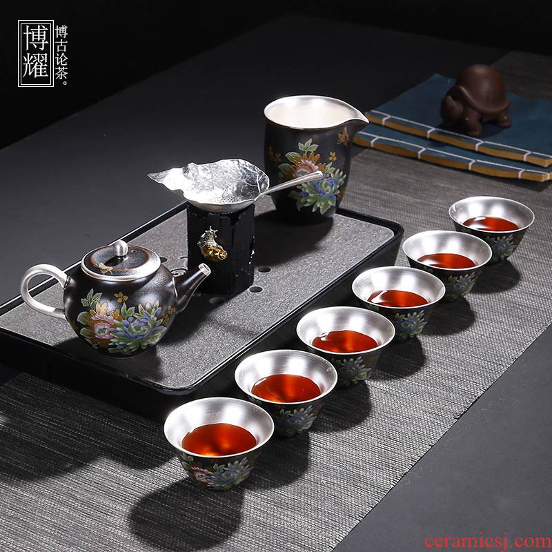 Bo yao with silver kung fu tea set a complete set of kung fu ceramic household tureen sterling silver cup pot a pot of 2 cups