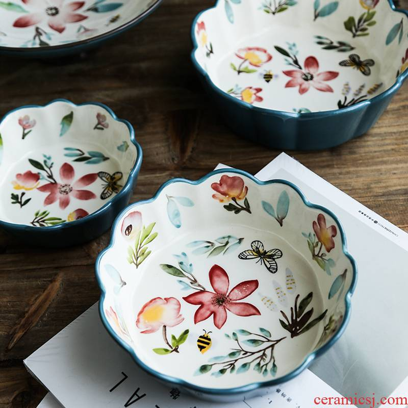 Japanese household creative hand - made ceramic bowls lace fruit salad side dish bowl of the big bowl dish ins tableware