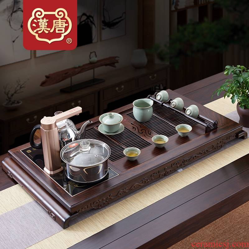 Han and tang dynasties tea tray was large household solid wood tea table ChuYun tea kettle automatically kung fu tea set