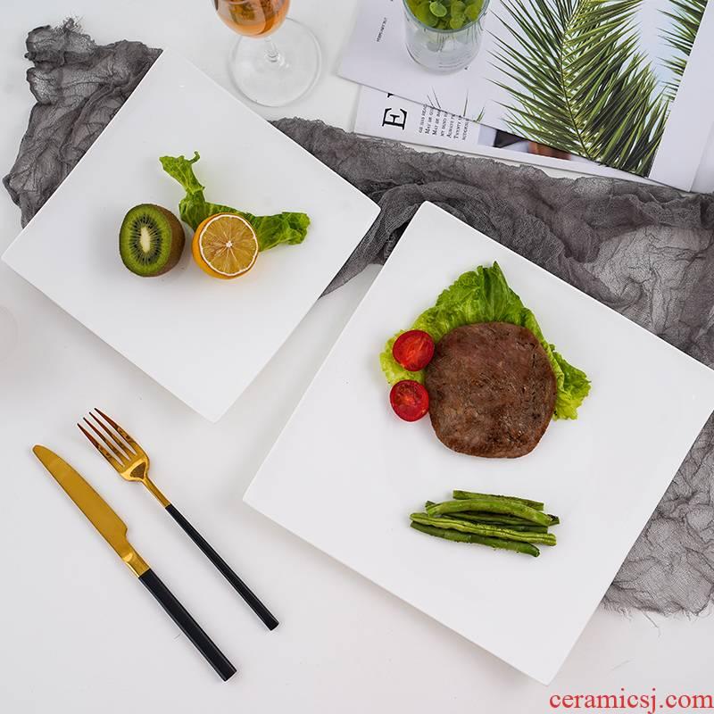 Jingdezhen pure white ipads porcelain plate beefsteak, square, flat ceramic plate tray