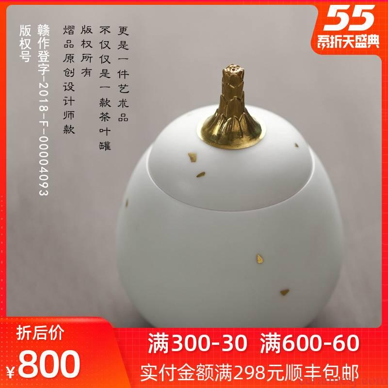 Bright product white porcelain tea pot jingdezhen ceramic seal pot kung fu large checking tea storage tank is moistureproof as cans
