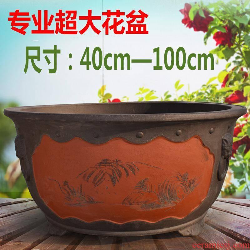Big flowerpot extra large courtyard is suing bonsai purple sand flowerpot planting large caliber of short circular ceramic cylinder