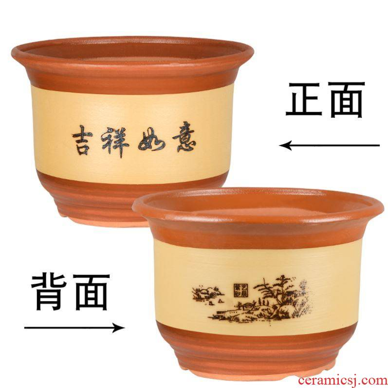 Balcony violet arenaceous round expressions using bonsai pot round green plant garden vegetables coarse pottery clay cactus flowers orchid pot