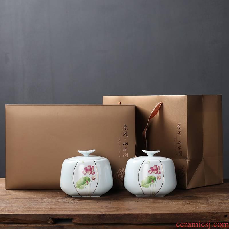 Ceramic tea pot seal pot loose tea storage POTS Chinese store receives black tea, green tea general empty box packing