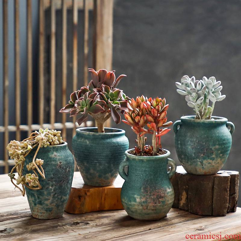 Fleshy flowerpot coarse pottery breathable creative move meat meat the plants of large diameter retro basin of ceramic up and old running on sale
