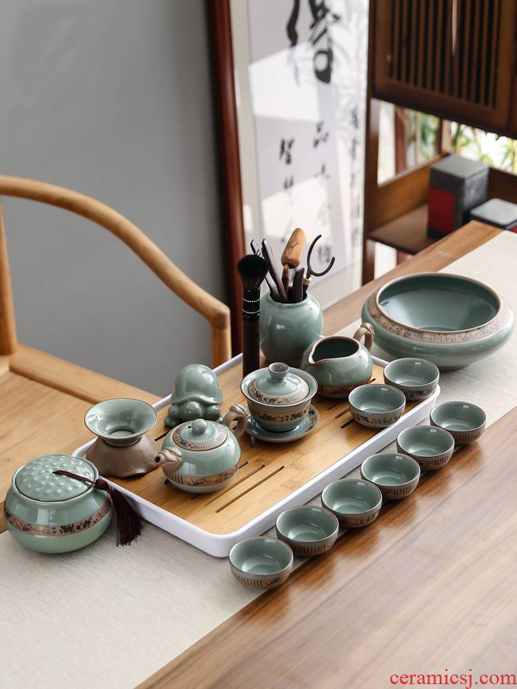 Bo yao, the elder brother of the Japanese tea set ceramic up open a piece of ice crack glaze retro household contracted your up of a complete set of tea cups