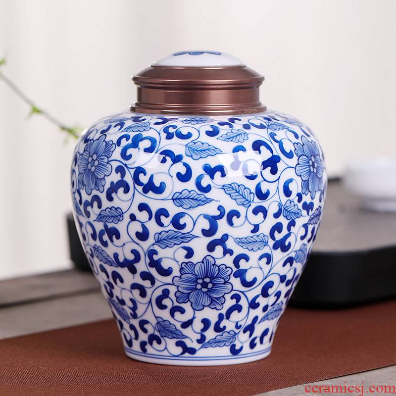Hand - made jingdezhen caddy fixings large portable sealed POTS store receives puer tea caddy fixings packaging big yards