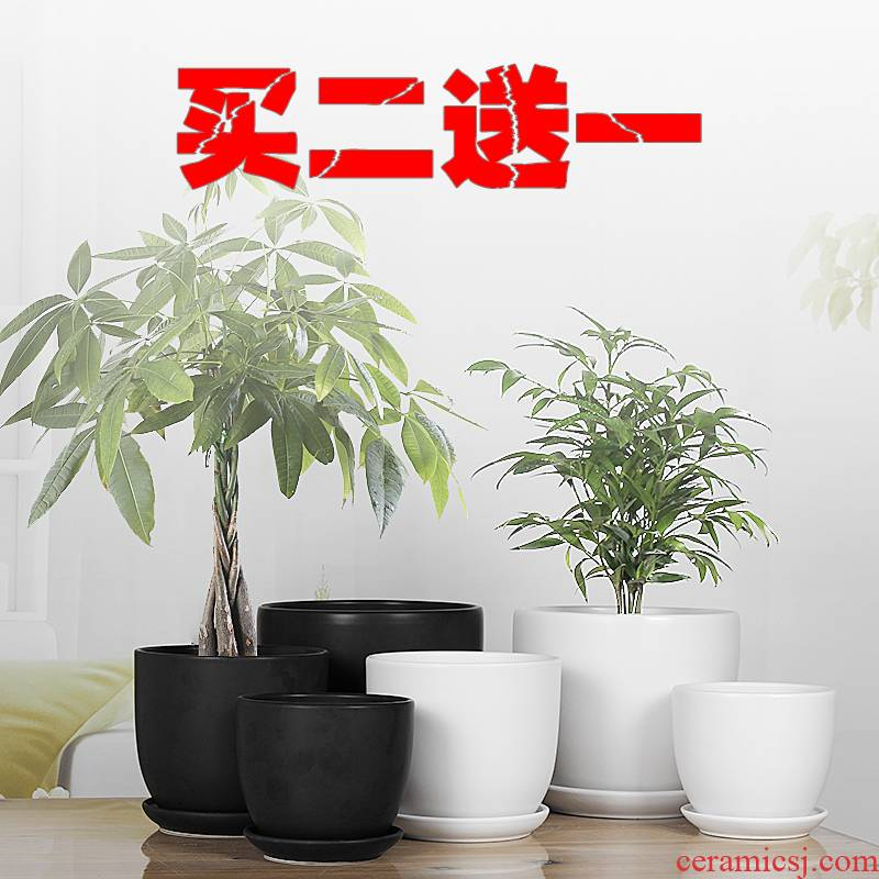European contracted flowerpot ceramic super - large size suit white household pot tray was special offer other clearance package mail