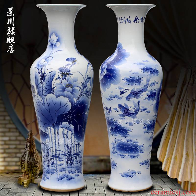 Fish of jingdezhen blue and white porcelain painting lotus sitting room of large vase household furnishing articles of modern ceramics handicraft