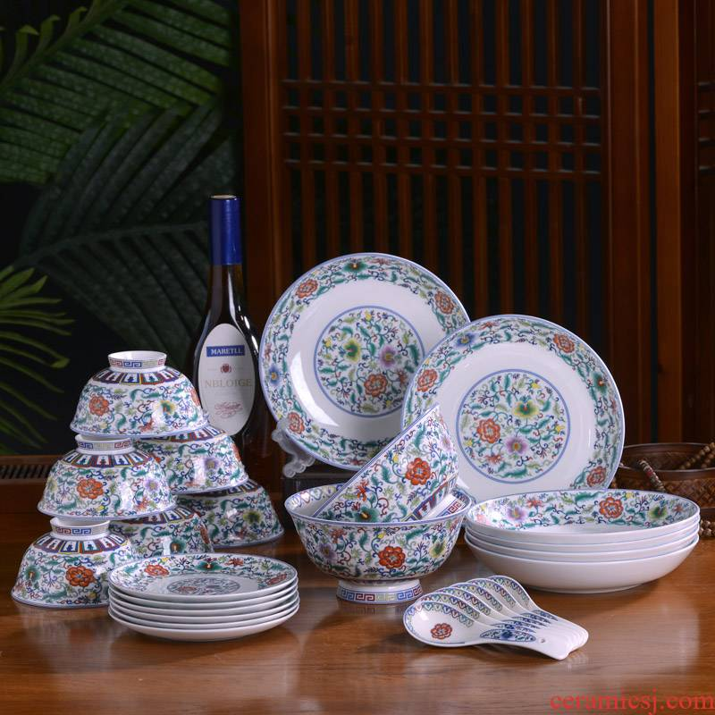 Jingdezhen ceramic tableware small suit Chinese style household bowls of ipads plates combination of archaize rice bowls deep dish ipads plate