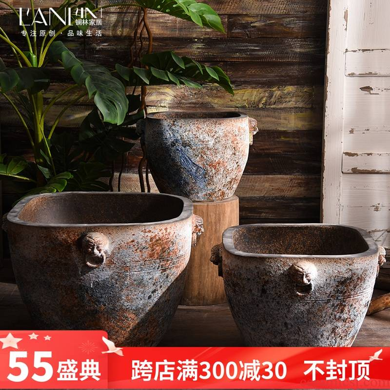 Old archaize ceramic extra large cylinder aquarium coarse pottery water lily flower bed hotel garden flowerpot retro big basin to plant trees