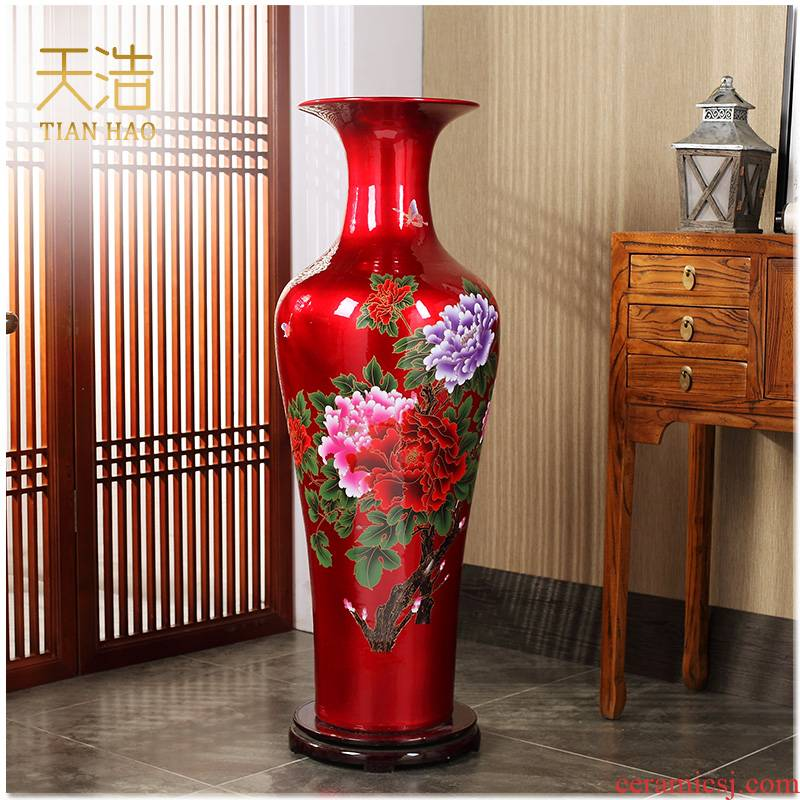 Jingdezhen ceramics of large vase peony modern home sitting room adornment is placed hotel opening gifts