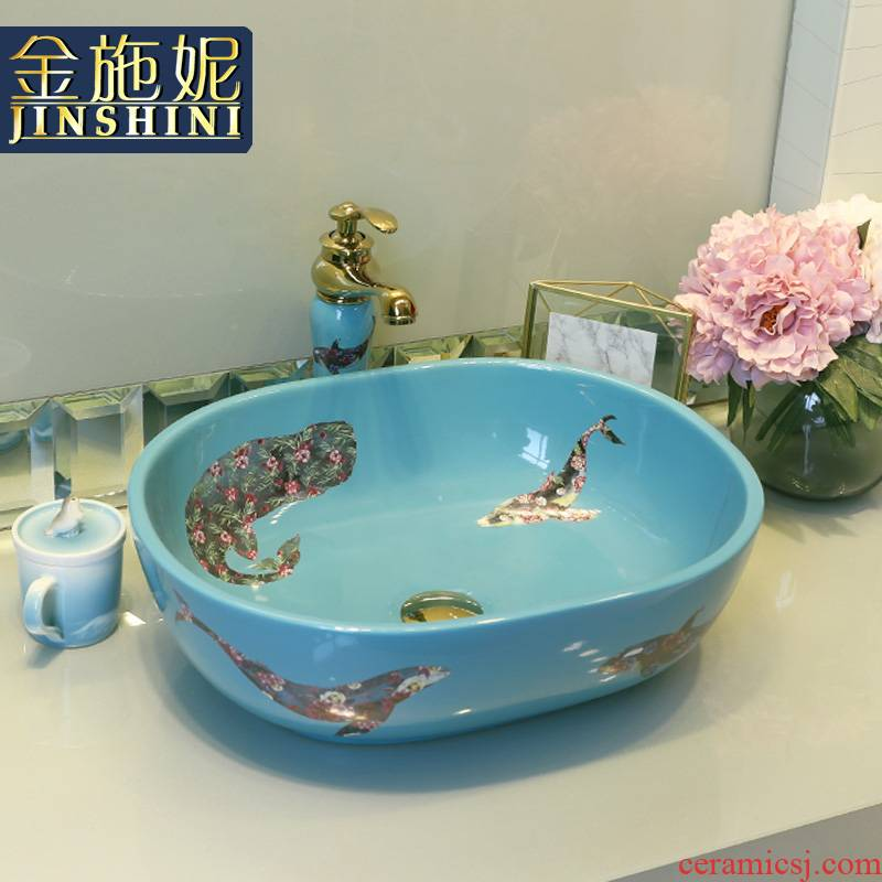 Gold cellnique stage basin oval European - style lavabo household creative ceramic art basin of I and contracted the lavatory