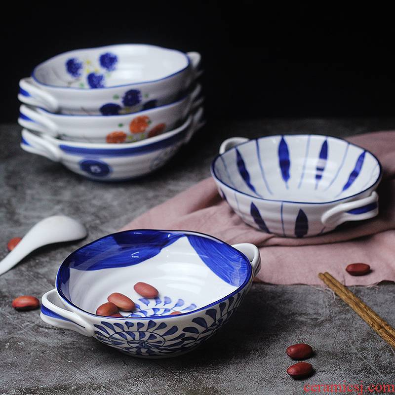 Orchid bowls Japanese blue and white porcelain tableware paella pull noodles household imitation retro 7.5 inch Korean TaoShuang ear soup