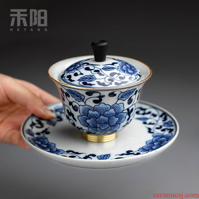 Send Yang only three tureen large single ceramic cups kung fu tea set of blue and white porcelain bowl with tea cup home